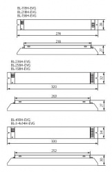 Electronic ballast, A2 energy efficient class Kanlux BL-258H-EVG - technical drawing